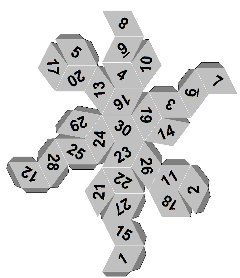 30 sided dice template for yard