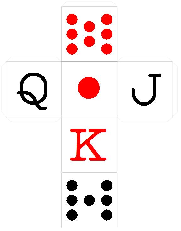 Dicecollectors paper dice templates 6 dice d6 cube poker spanish maxwellsz
