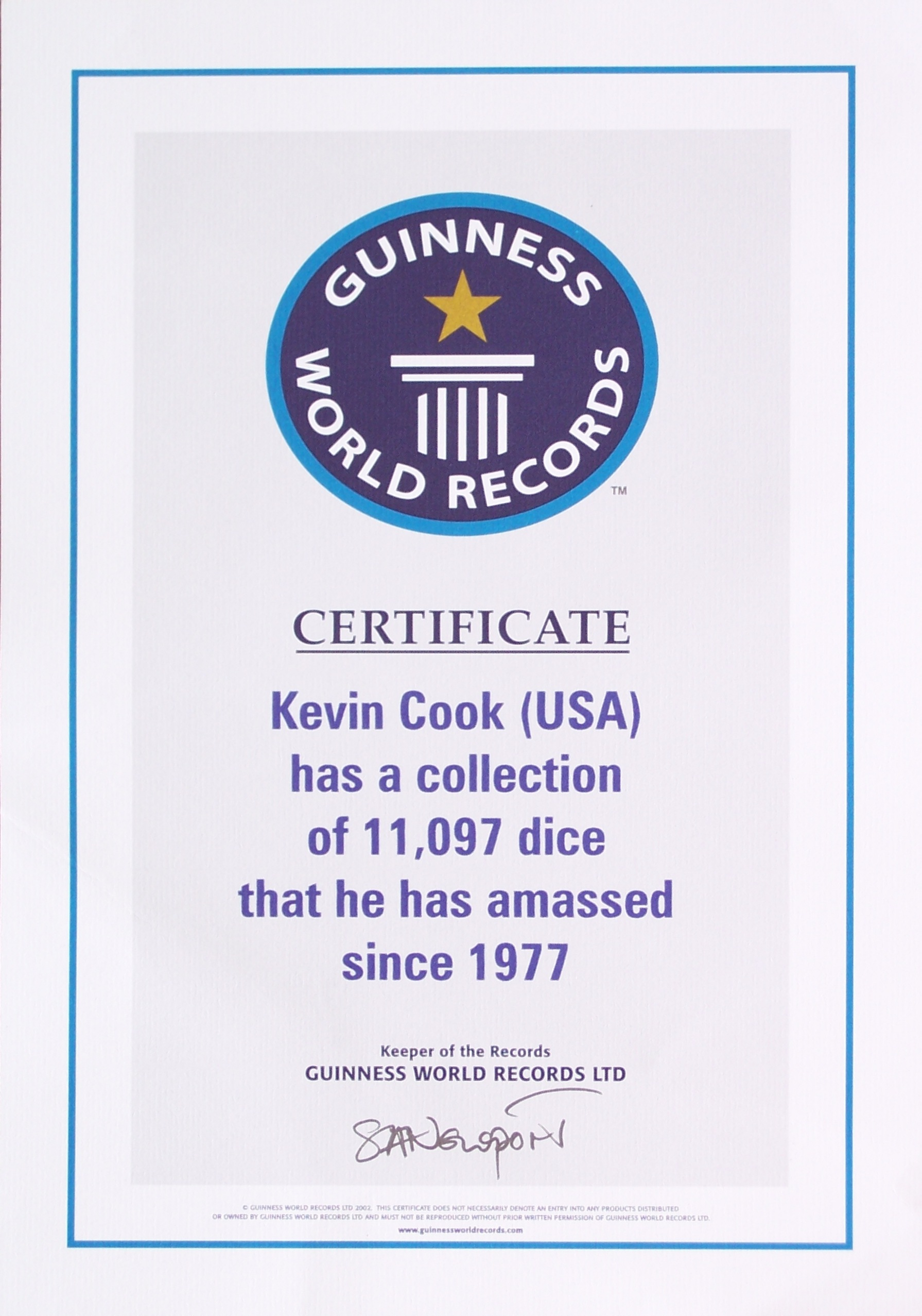 Dicecollectorcom guinness claim information for World record certificate template