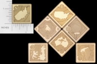 Dice : METAL BRASS D6 ACE PRECISION COUNTRIES CONTINENTS 01