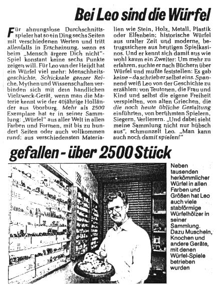 Newpaper article about Leo Van Der Heijdt