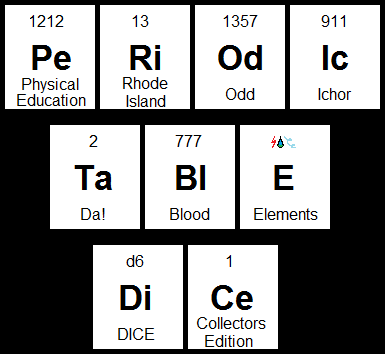 PERIODIC TABLE DICE