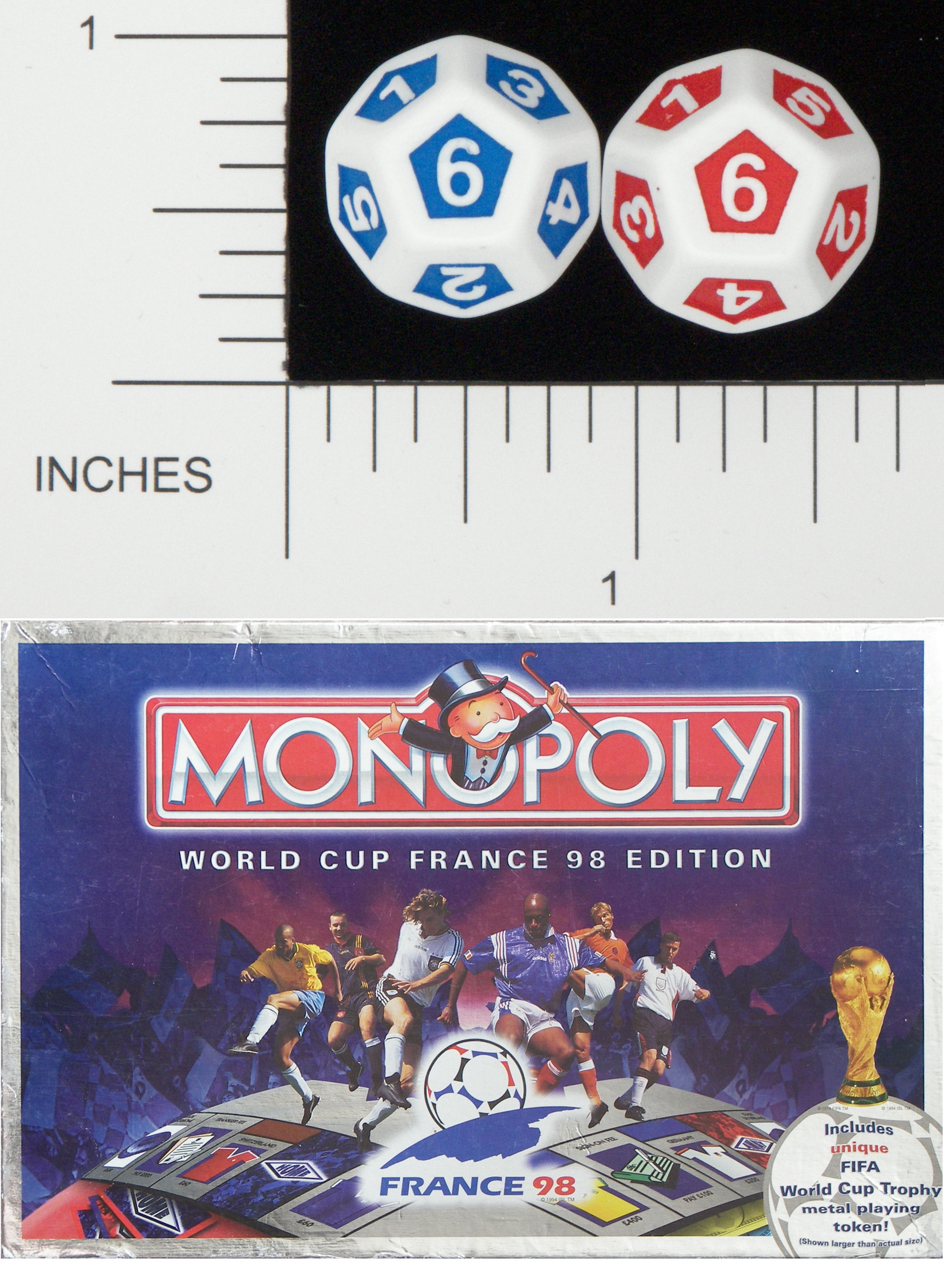 Dice d12 opaque rounded solid waddingtons world cup 98 monopoly 01
