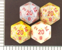 Dice : D20 OPAQUE ROUNDED SPECKLED WITH RED 1
