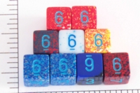 Dice : NUMBERED OPAQUE ROUNDED SPECKLED WITH BLUE 1