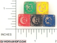 Dice : NUMBERED CLEAR ROUNDED SOLID Q WORKSHOP DRAGON 01