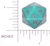 Dice : METAL ALUMINUM D20 01 CAVE BADGER 06 GREEN ETCHED EDGES