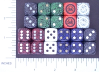 Dice : D6 OPAQUE ROUNDED SPECKLED CHESSEX 07 SKULL