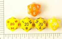 Dice : D20 OPAQUE ROUNDED SOLID YELLOW ORANGE