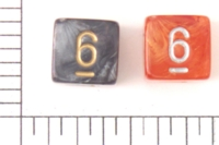 Dice : NUMBERED TRANSLUCENT ROUNDED SWIRL CHESSEX LEAF 1