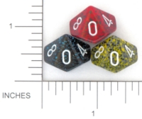 Dice : D10 OPAQUE ROUNDED SPECKLED WITH WHITE 5