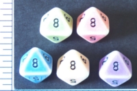 Dice : D8 OPAQUE ROUNDED 2TONE CRYSTAL CASTE PORCELAIN