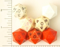 Dice : D20 OPAQUE SHARP SOLID RED WHITE