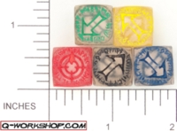 Dice : NON NUMBERED CLEAR ROUNDED SOLID Q WORKSHOP RUNIC SCATTER 01