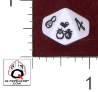 Dice : D10 OPAQUE ROUNDED SOLID Q WORKSHOP CLASSIC CUSTOM WEDDING MOLES