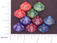 Dice : D10 OPAQUE ROUNDED SWIRL CHESSEX PHANTOM 02