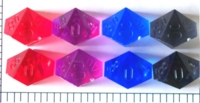 Dice : D10 TRANSLUCENT SHARP SOLID FROSTED CHESSEX RAW 1