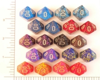 Dice : D10 OPAQUE ROUNDED SPECKLED WITH METAL 1