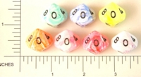 Dice : D10 OPAQUE ROUNDED SWIRL CC ICECREAM
