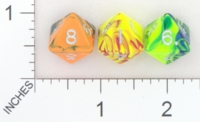 Dice : D8 OPAQUE ROUNDED SWIRL CRYSTAL CASTE ELECTRIC 01