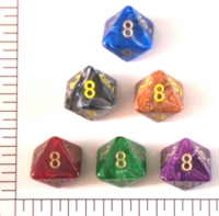 Dice : D8 OPAQUE ROUNDED SWIRL CHESSEX VORTEX