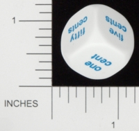 Dice : NON NUMBERED OPAQUE ROUNDED SOLID KOPLOW MONEY WORD 01