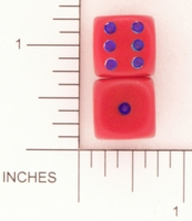 Dice : D6 OPAQUE ROUNDED SOLID RED BLUE PIPS 01