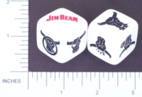 Dice : NON NUMBERED OPAQUE ROUNDED SOLID WHITE JIM BEAM 01