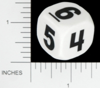 Dice : NUMBERED OPAQUE ROUNDED SOLID WHITE 01