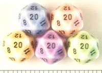 Dice : D20 OPAQUE ROUNDED 2TONE PORCELIN