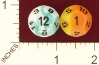 Dice : D12 TRANSLUCENT ROUNDED IRIDESCENT SWIRL CHESSEX 2009 GEMINI 01