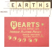 Dice : NON NUMBERED PARKER BROTHERS HEARTS 01