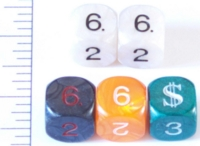 Dice : NUMBERED OPAQUE ROUNDED IRIDESCENT 1
