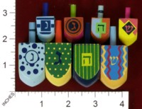 Dice : MINT33 RITE LITE LTD DREIDEL HANDPAINTED 01