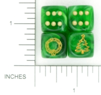 Dice : D6 TRANSLUCENT ROUNDED SWIRL CHESSEX CUSTOM 04 FOR JSPASSINTHRUS WREATH AND CHRISTMAS TREE