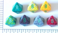 Dice : D8 OPAQUE ROUNDED SPECKLED WITH GREEN 1