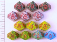 Dice : D10 OPAQUE ROUNDED SPECKLED WITH RED 2