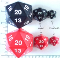 Dice : D20 OPAQUE ROUNDED SOLID HUGE 2