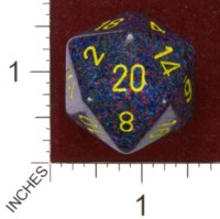 Dice : D20 OPAQUE ROUNDED SPECKLED CHESSEX TWILIGHT JUMBO 01