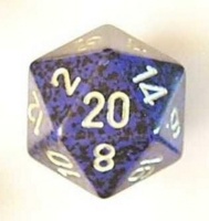 Dice : D20 OPAQUE ROUNDED SPECKLED WITH METAL 3