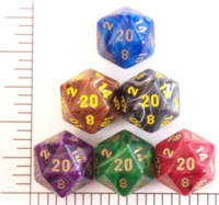 Dice : D20 OPAQUE ROUNDED SWIRL CHESSEX VORTEX