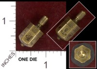 Dice : METAL BRASS D6 UNKNOWN CROWN AND ANCHOR PATENT 33471