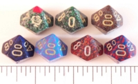 Dice : D10 OPAQUE ROUNDED SPECKLED WITH METAL 2