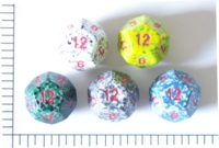 Dice : D12 OPAQUE ROUNDED SPECKLED WITH RED 1