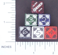 Dice : NUMBERED CLEAR ROUNDED SPECKLED CHESSEX CELTIC 01