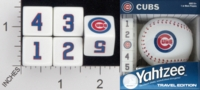 Dice : NUMBERED OPAQUE ROUNDED SOLID USAOPOLY CHICAGO CUBS YAHTZEE 01