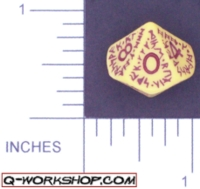 Dice : D10 OPAQUE ROUNDED SOLID Q WORKSHOP RUNIC 03