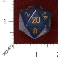 Dice : D20 OPAQUE ROUNDED SOLID CHESSEX DUSTY BLUE WITH COPPER JUMBO 01