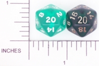 Dice : D20 CLEAR ROUNDED SOLID GREEN 01