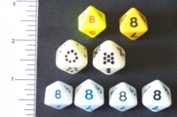 Dice : D8 OPAQUE ROUNDED SOLID 1